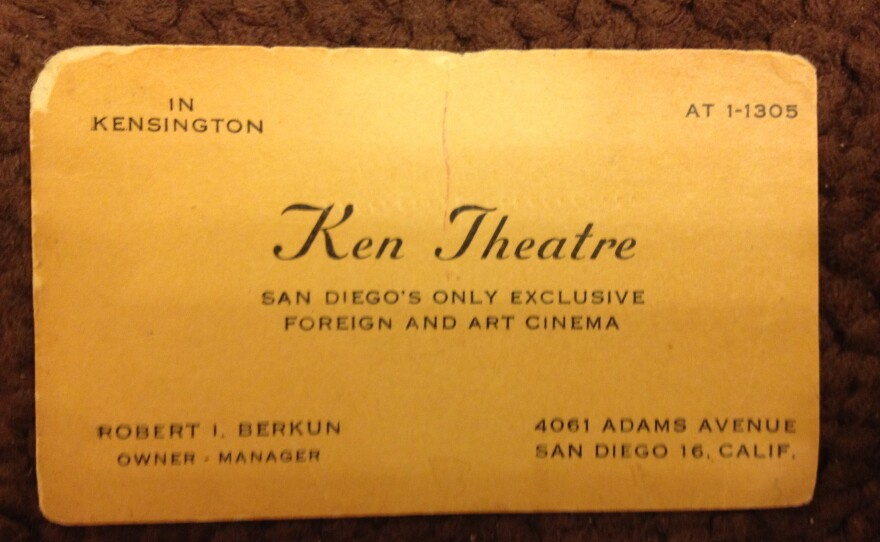 Robert Berkun's Ken Cinema business card proclaimed its dedication to showing foreign films.