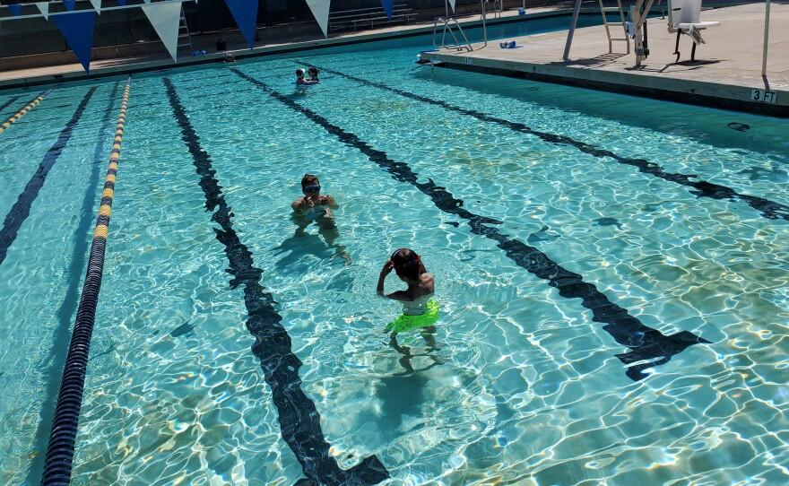Kids swim at the Swanson Memorial Pool in La Jolla during Sunday recreational swim hours, Sept. 19, 2021.