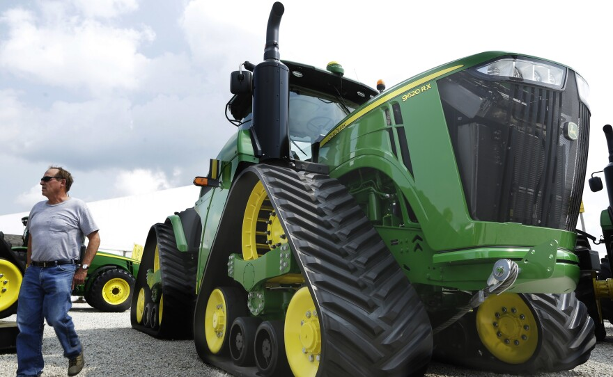 John Deere equipment's equipment is on display in 2015 at the Farm Progress Show in Decatur, Ill.