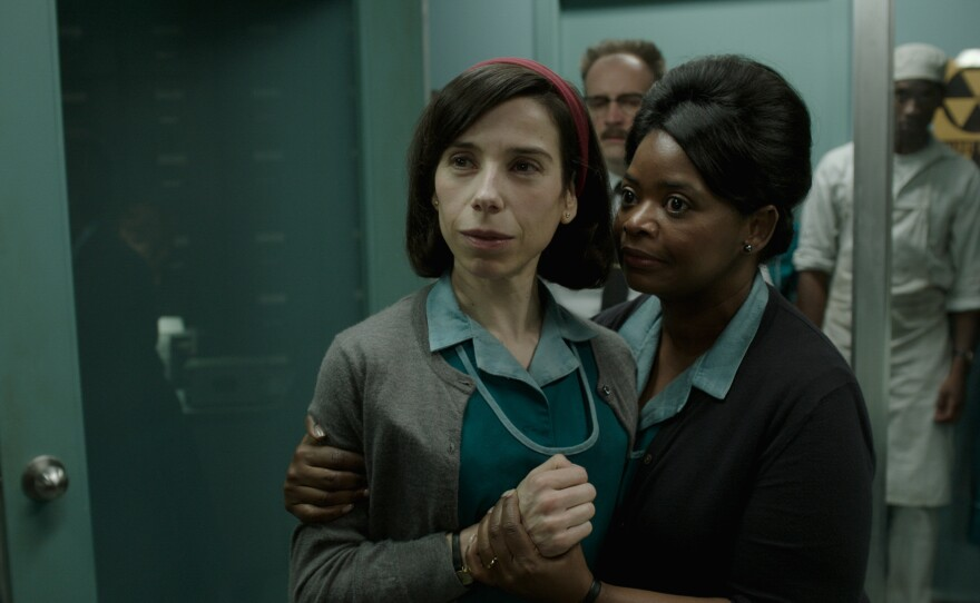 """Can Guillermo del Toro's """"The Shape of Water"""" overcome recent accusations of plagiarism to take the top prize at the 90th Academy Awards? Actresses Sally Hawkins, left, and Octavia Spencer are both up for awards."""