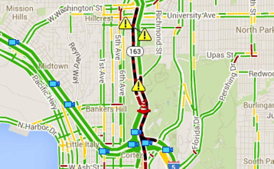 This screen grab from a CalTrans map shows a traffic accident and a fallen tree cause delays on the south and north 163, Feb. 28, 2014.