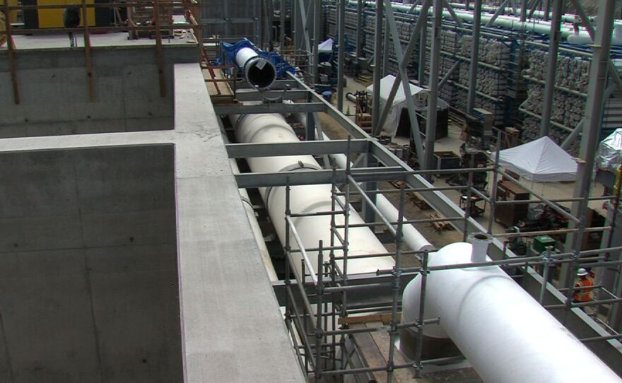 Pipes under construction that will eventually move water between treatment facilities at the Carlsbad desalination plant, September 4, 2014.