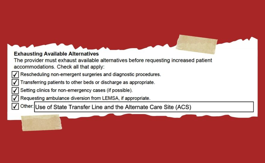 A photo illustration shows the state Health and Human Resources Agency's waiver form that was submitted by El Centro Regional Medical Center.