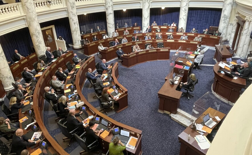 The Idaho Legislature recessed until April 6 due to an outbreak of COVID-19 among members and staff. Six members of the House, shown here, March 17, 2021, tested positive for the virus within a week.