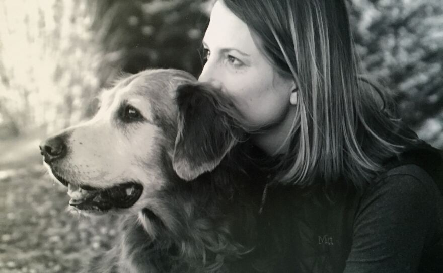 A photo of author Julie Barton and her dog Bunker in 2007.