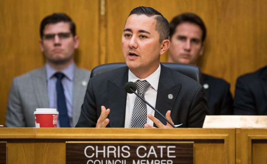 San Diego City Councilman Chris Cate speaks during a council meeting, Dec. 12, 2016.