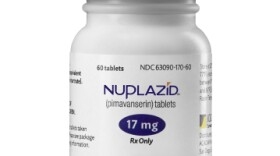 A bottle containing the Parkinson's drug Nuplazid is seen in this undated photo.