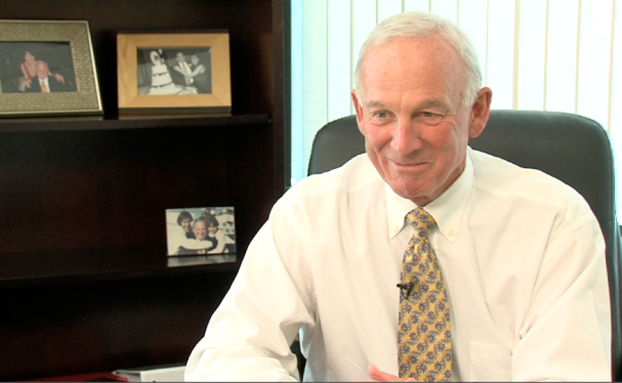 Former Mayor Jerry Sanders in his new office at the San Diego Regional Chamber of Commerce.