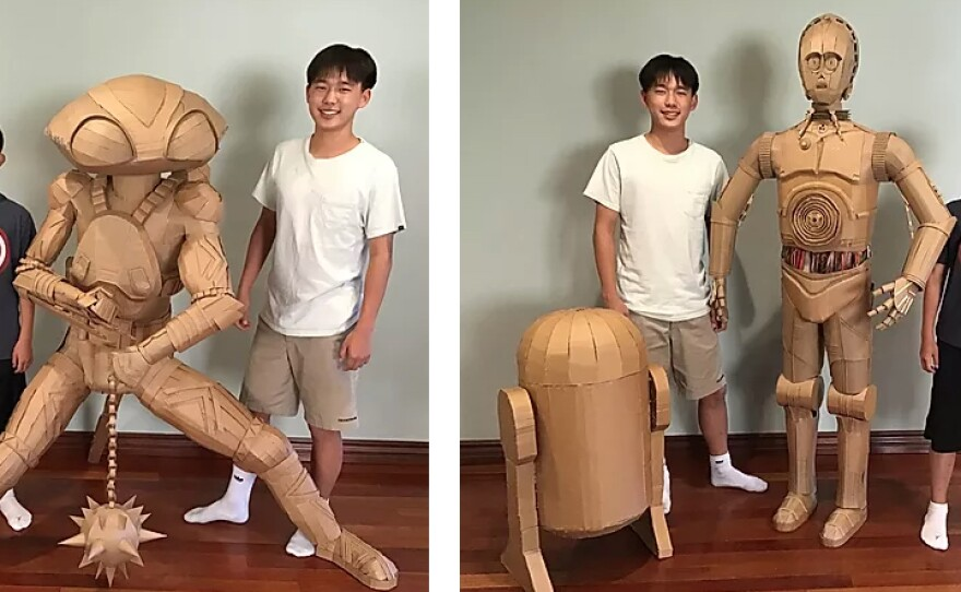 Brothers Bauer and Connor Lee, the creators of Cardboard Superheroes, one of the tutorial panels available at this year's Comic-Con@Home.