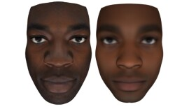 In this undated image, digital readouts of a person's actual face are seen on the left; predictions of their facial features based on their anonymous genome are seen on the right.