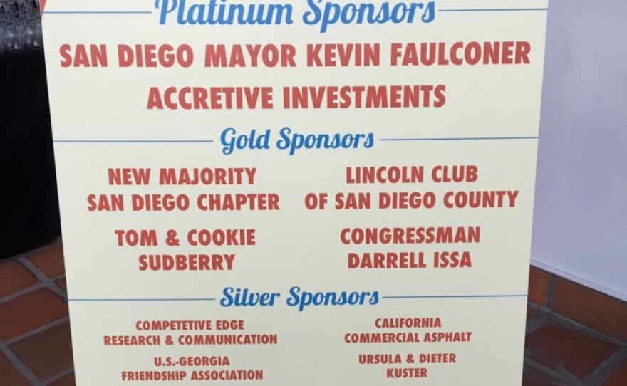 A sign recognizes the sponsors of the Salute to Republican Elected Officials event, Sept. 24, 2016.