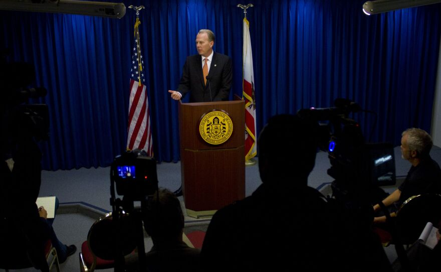 Kevin Faulconer speaks to the media for the first time as San Diego mayor at City Hall on March 6, 2014.