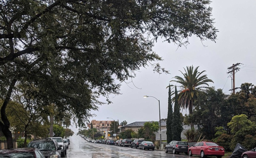 A rainy street in Golden Hill, San Diego is pictured in this photo, March 18, 2020.