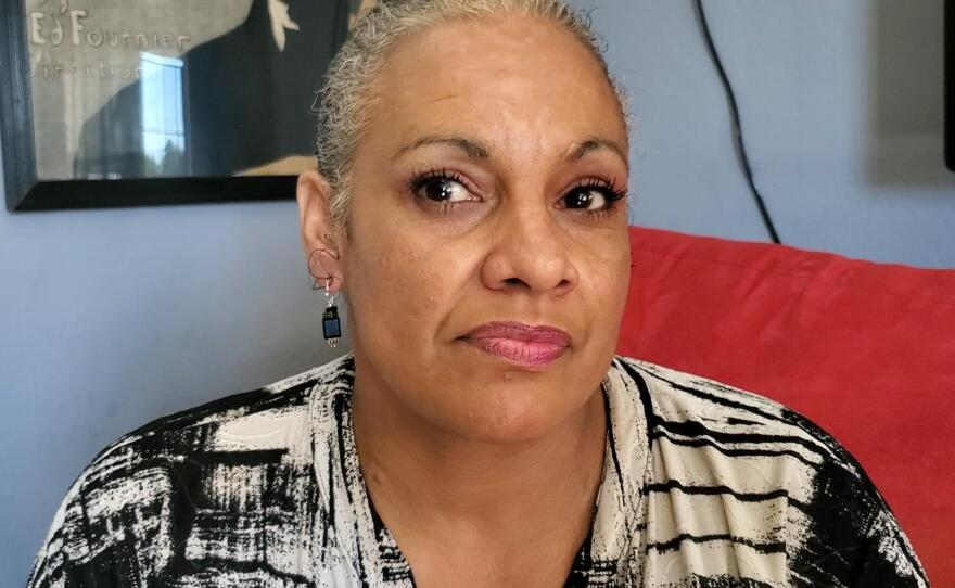 Shelly Sword sits in her City Heights apartment, Jan. 28, 2020.