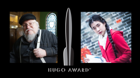 From left to right, author George R. R. Martin (Courtesy of Nutopia/PBS), the Hugo Awards logo (est. 1953), and author Jeannette Ng (Courtesy of Dee Siu).