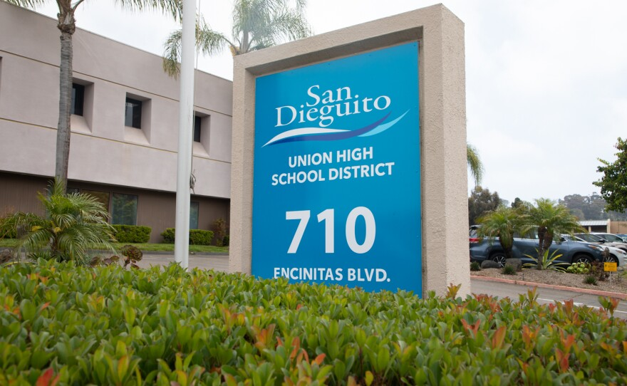 The San Dieguito Union High School District building is shown on July 2, 2021.