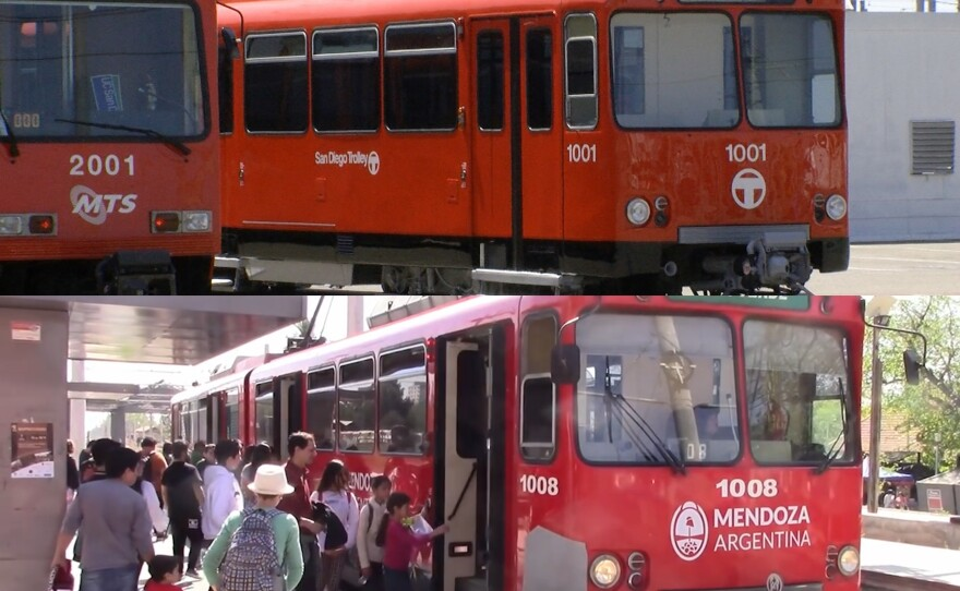One of MTS's original trolleys out of service in San Diego (top) and one of MTS's original trolleys on the tracks in Mendoza, Argentina (bottom).