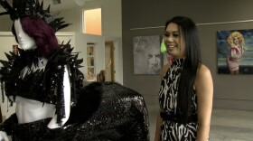 """San Diego drag icon Paris with her dark """"My Little Pony"""" creation Pegasus that she has worn at Comic-Con."""