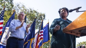 Voting rights activist Stacey Abrams speaks during an Oct. 17 rally in Norfolk supporting Terry McAuliffe in his bid to reclaim the Virginia's governor's office. To try and drum up enthusiasm, Democrats have brought in some of their biggest names.