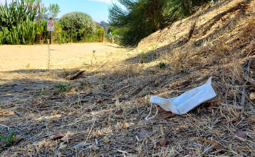 A disposable face mask discarded on a hiking trail in Balboa Park, Aug. 2, 2020.