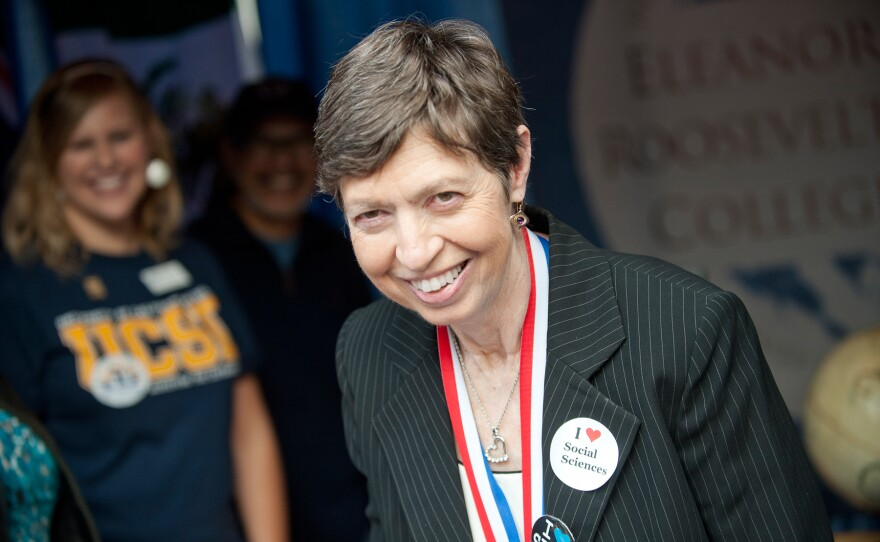 File photo of then-UC San Diego Chancellor Marye Anne Fox at the Funders' Day celebration, Nov. 18, 2010.