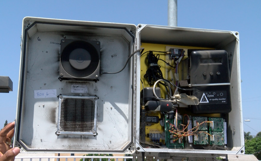 An air quality monitor on the roof of Casa Familiar is shown, Aug. 3, 2018.