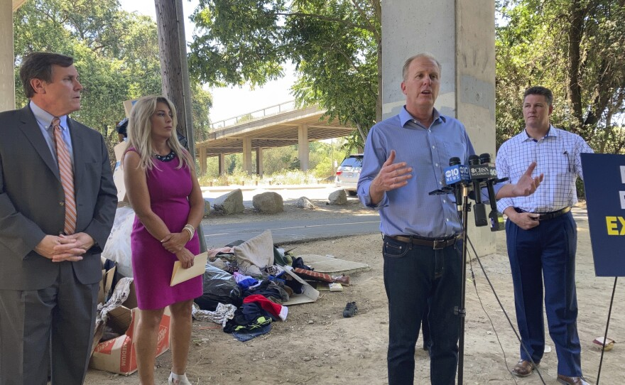 Republican gubernatorial candidate Kevin Faulconer outlines his plan to vastly expand homeless shelters in California during a news conference in Sacramento, Calif., Tuesday, June 29, 2021.
