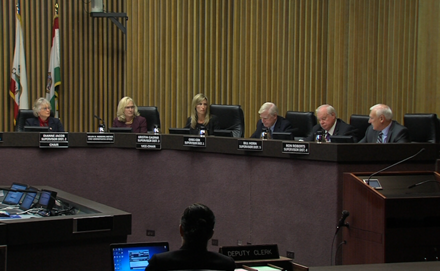 The San Diego County Board of Supervisors is shown in this photo, Jan. 10, 2017.