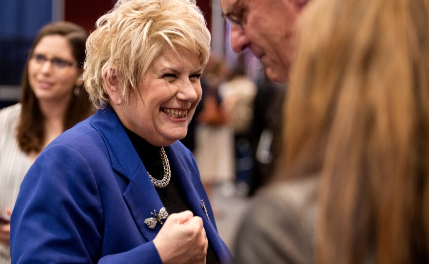 Former San Diego County District Attorney Bonnie Dumanis talks with supporters at Golden Hall following the primary election on June 5, 2018