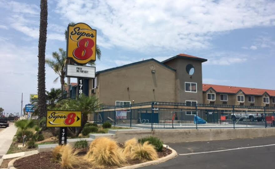 The Super8 motel on Palm Avenue in the Nestor district of San Diego. July 16, 2017.