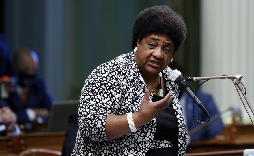 Then-Assemblywoman Shirley Weber, D-San Diego, calls on members of the Assembly to approve her measure to place a constitutional amendment on the ballot to let voters decide if the state should overturn its ban on affirmative action programs, at the Capitol in Sacramento, Calif., Wednesday, June 10, 2020.