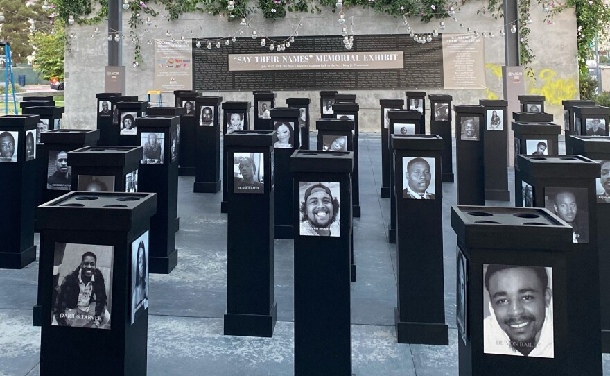 """The """"Say Their Names"""" Memorial exhibit at the San Diego African American Museum of Fine Art, July 8, 2021."""