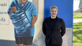 Grossmont College Professor and artist Veracruz Sanchez stands in front of the mural she helped create in Chicano Park. It honors Hispanic women. September 16, 2021 Source M.G. Perez