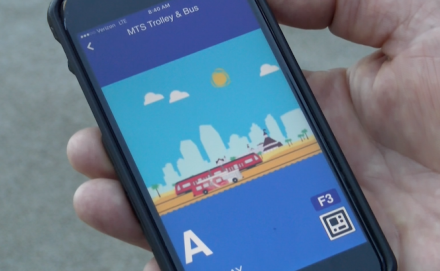 An MTS ticket bought with the new Compass Cloud app is displayed on a phone screen, March 9, 2017.