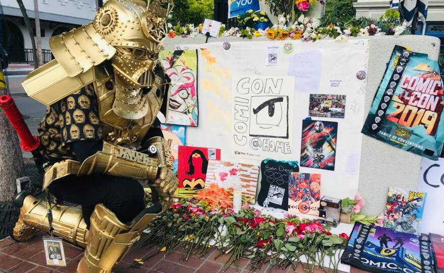 Christopher Canole, a.k.a. Dude Vader, mourns the lack of a physical Comic-Con this year at a makeshift memorial downtown.