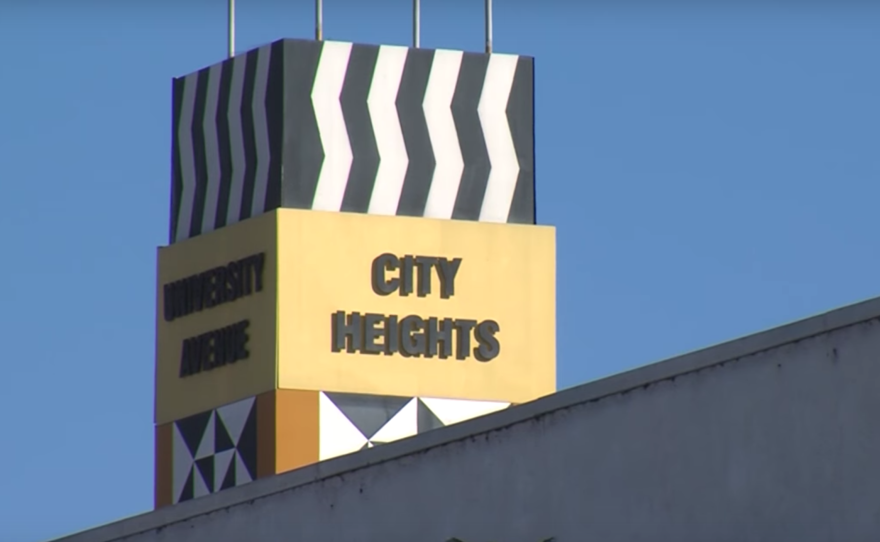 A colorful pillar in City Heights identifies the San Diego neighborhood.