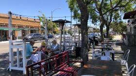 An outdoor dining parklet at Matteo in the South Park neighborhood of San Diego, Calif. Aug. 3, 2021.