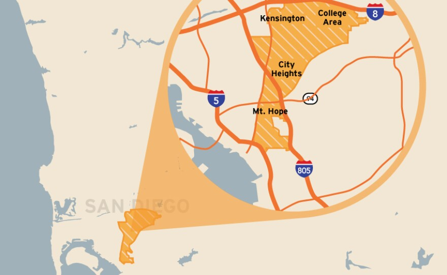 This map shows the location of the San Diego City Council's District 9. It includes Southcrest, Mountain View, Mount Hope, City Heights, El Cerrito, Talmadge, Kensington, College View Estates, Alvarado Estates, Rolando and the College Area.