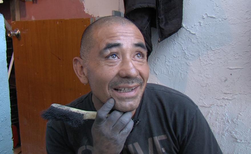 Ricardo Lugo creates a cement sculpture at a Tijuana rehabilitation center, March 30, 2015.