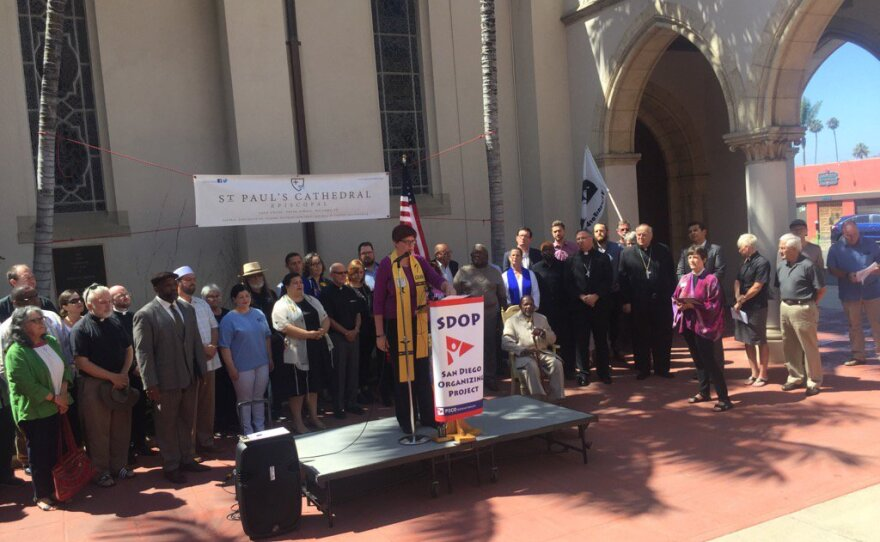 San Diego faith leaders gather for a press conference denouncing racism following violent protests in Charlottesville, Virginia, Aug. 18, 2017.