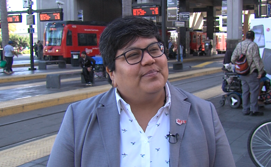 San Diego City Councilwoman Georgette Gomez stands in front of the 12th and Imperial trolley stop, Jan. 18, 2018.