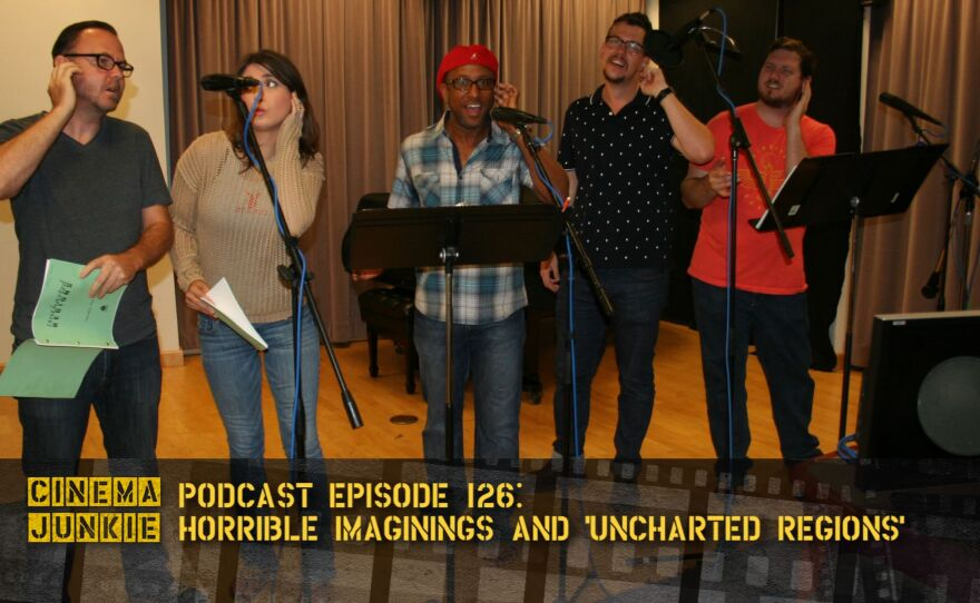 """Cast of """"Someday, Over You"""" in the recording booth: Randy Davison (""""Security Guard""""), Kristin Naomi Garcia (""""Reporter No. 1), Ron Christopher Jones (""""Hawkins""""), Patrick Gates (""""Foster"""") and Vander Turner (""""Steve"""")."""