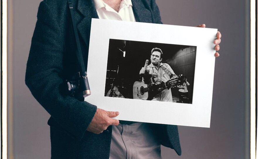 Tim Mantoani's portrait of music photographer Jim Marshall and his famous image of Johnny Cash.