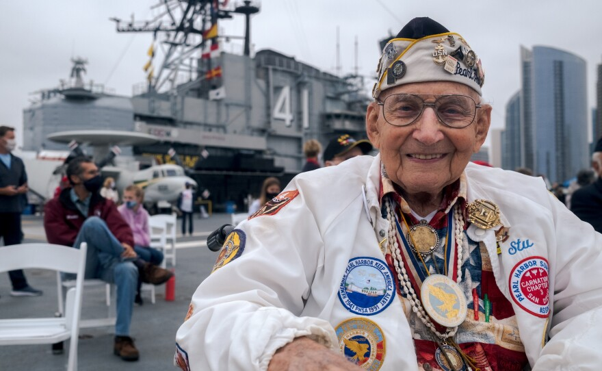 Stu Hedley, President of the Pearl Harbor Survivors Association, at the USS Midway Museum's Memorial Day ceremony on May 31, 2021.