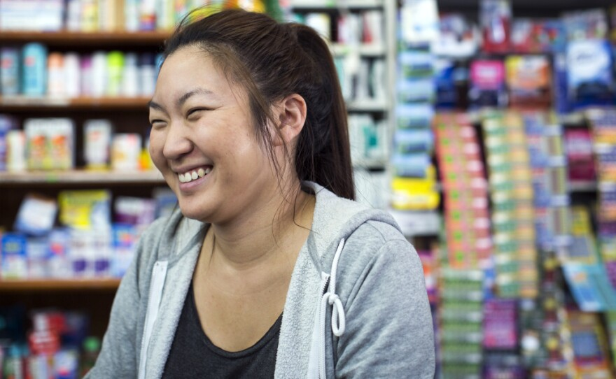 Taylor Chun, who just graduated from Cal Poly Pomona, is working as a manager at her family's store, Mexico Supermarket, in Placentia. Chun wants to become a wedding planner.