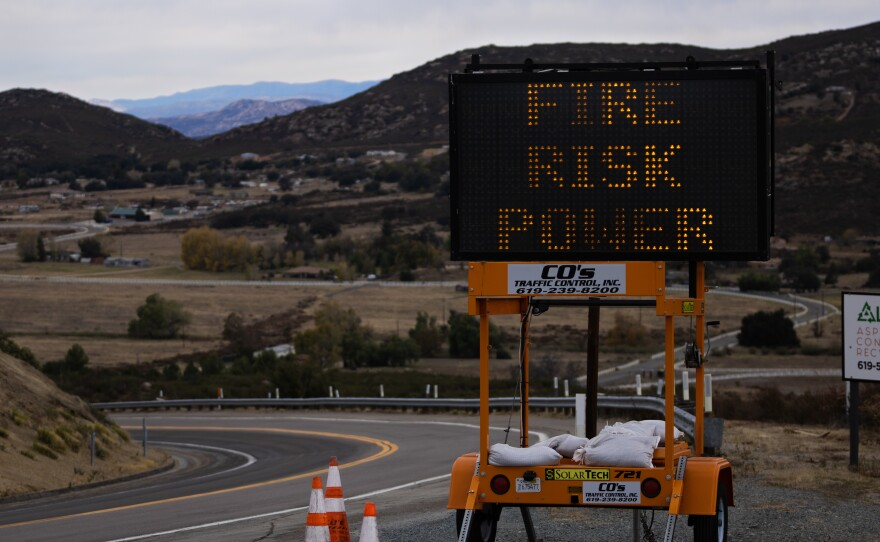 A sign advising of potential fire risk placed on Willows Road near the Viejas Reservation. Dec. 7, 2020.