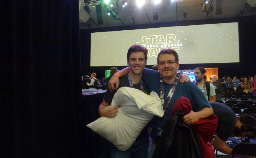 """Brothers Andrew and Jesse Graham at the """"Episode VII"""" panel at Star Wars Celebration VII on Apr. 16, 2015."""