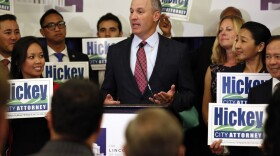 San Diego city attorney candidate Robert Hickey addresses the crowd at the U.S. Grant, June 7, 2016. Hickey is advancing to a November runoff against Mara Elliott.