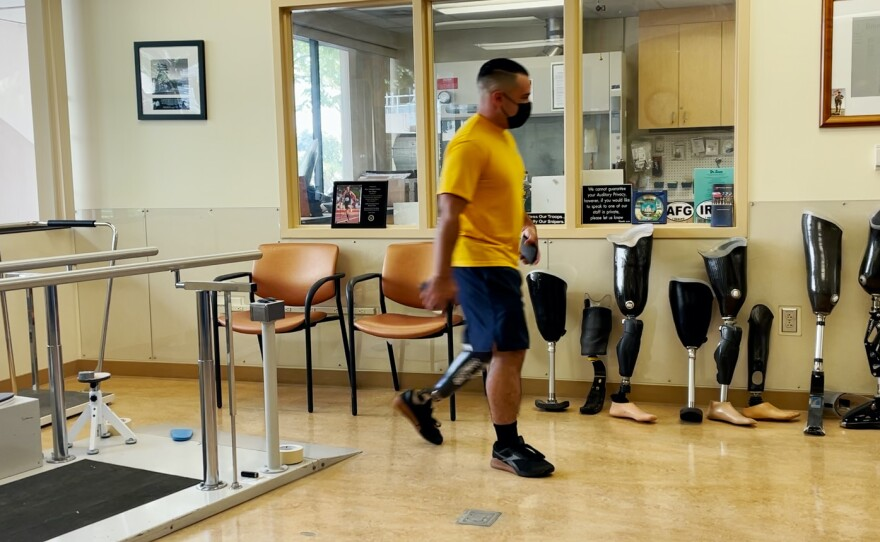 Hospital Corpsman Michael Diez is in the prosthetic lab at the Naval Hospital, Aug. 13, 2021.
