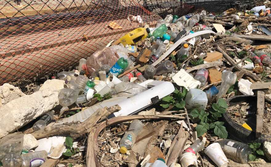 Garbage trapped by a collector in goat canyon near the U.S. Mexico border on Apr. 19, 2021.